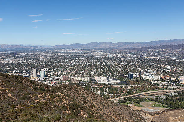smog free day in la - san fernando valley stock photos and pictures