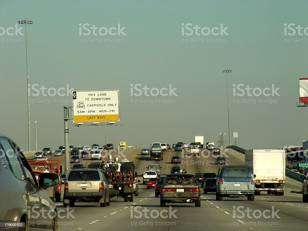 Smog In Houston, incl. HOV Lane royalty-free stock photo
