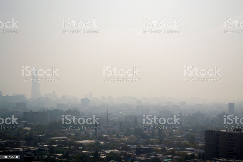 Smog in the city stock photo