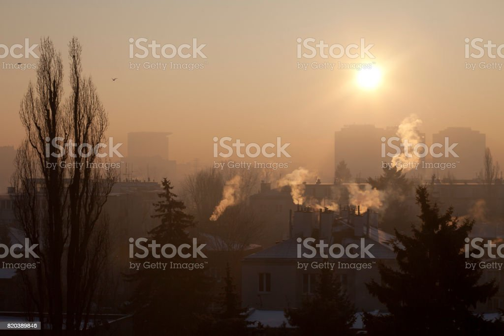 Smog in winter time in Warsaw, Poland stock photo