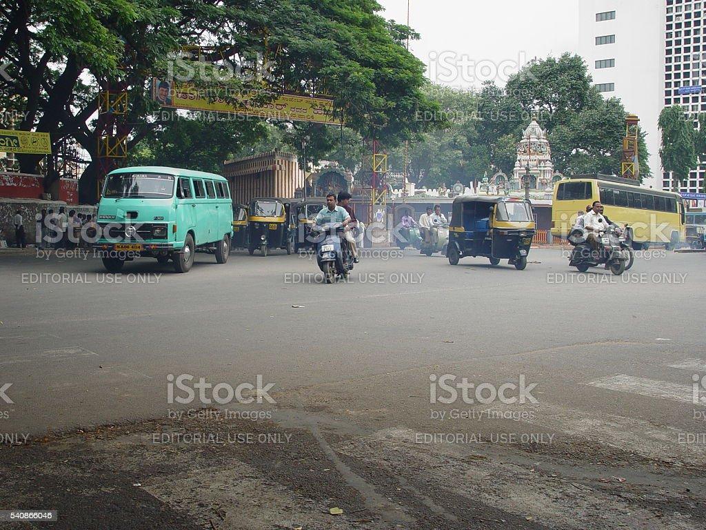 Smog on the crossroads stock photo