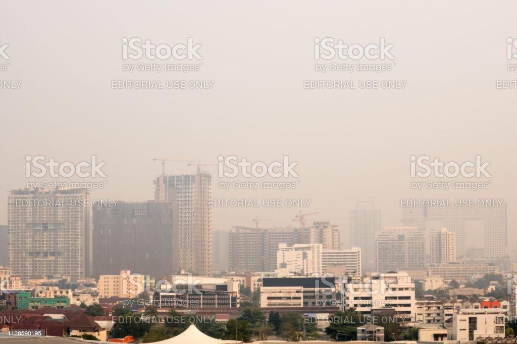 Smog over Bangkok, Thailand stock photo