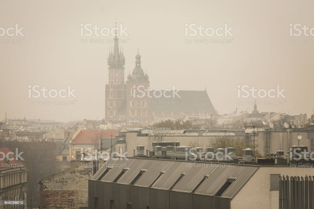 Smog over Krakow stock photo