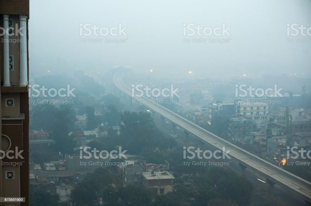 Smog over noida delhi gurgaon in the morning stock photo