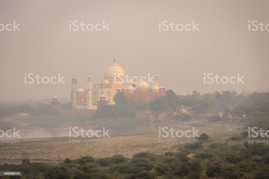Smog over Taj Mahal. stock photo