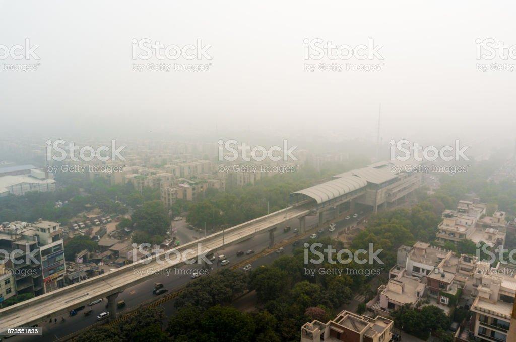 Smog over the city of Noida, Delhi, Gurgaon stock photo