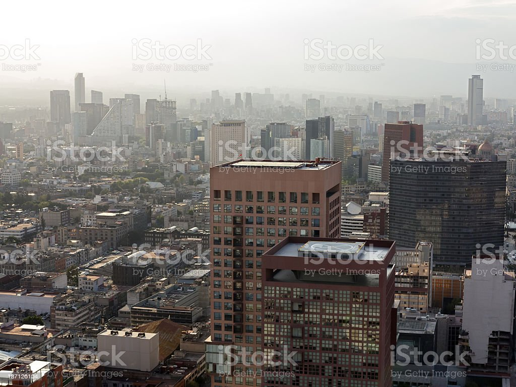 View across the skyline of the business district of Polanco on a...