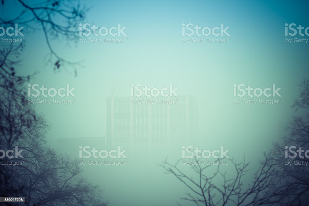 Smog situation in the city. Fog. stock photo