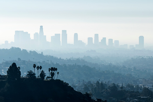 Downtown Los Angeles with misty morning smoggy fog.