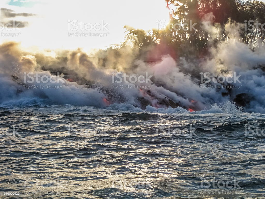 Smoke and steam ok Kilauea stock photo