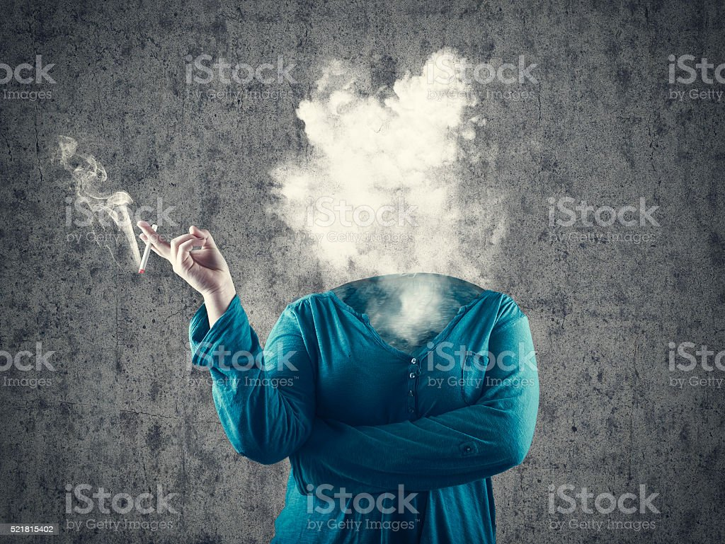 Smoke and the silhouette stock photo