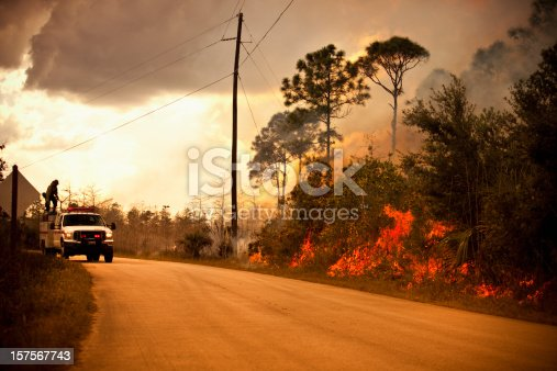 istock Smoke and wilderness emergency truck 157567743