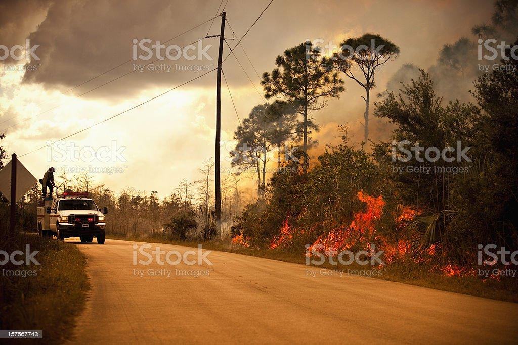 Smoke and wilderness emergency truck stock photo