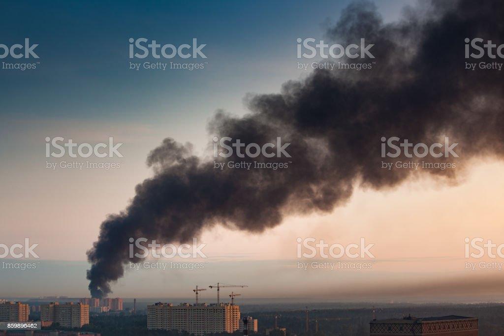 Smoke at sky stock photo