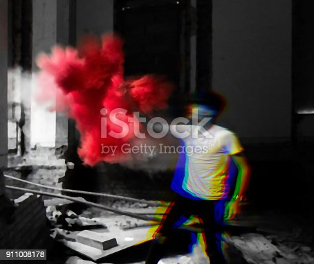 istock Smoke Bomb in Abandoned Building 911008178