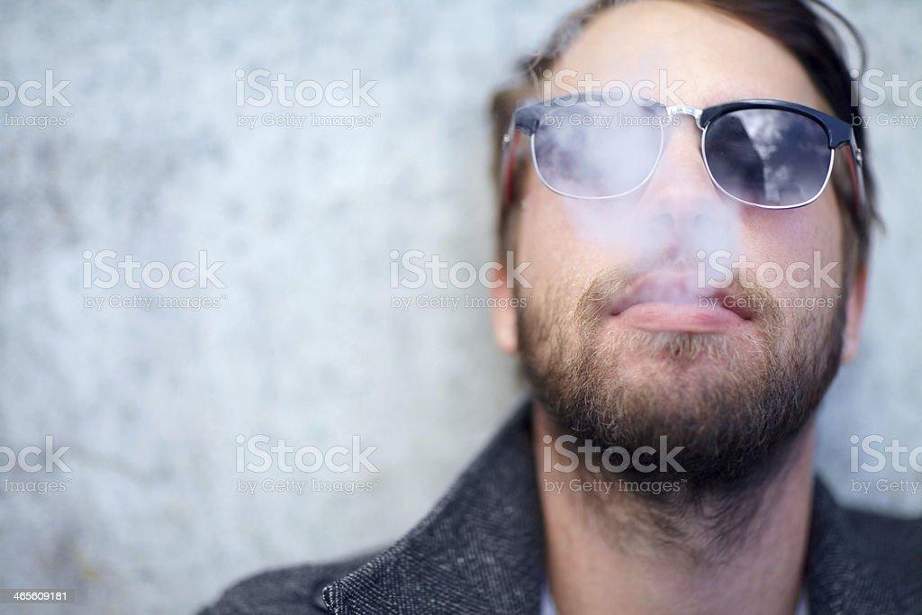 Smoke break stock photo