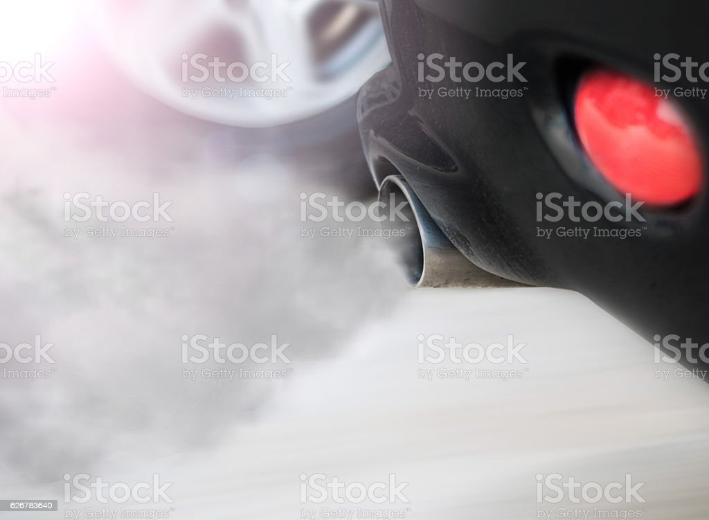 smoke car pipe exhaust stock photo