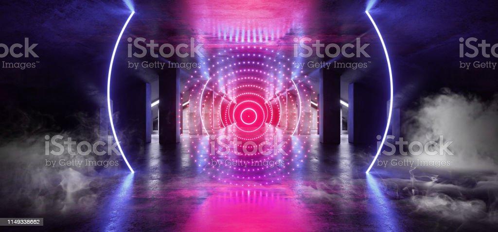 Smoke Circle Neon Blue Purple Glowing Triangle Sci Fi Futuristic...