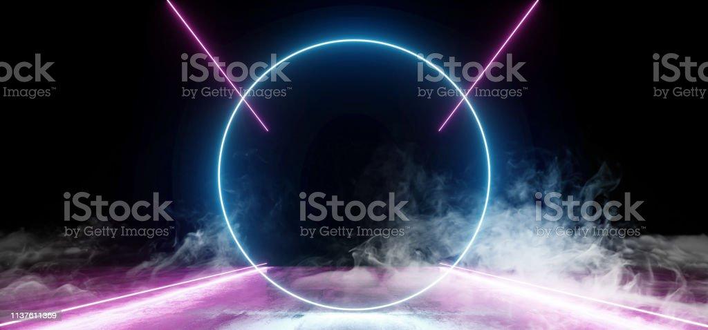 Smoke Circle Neon Dark Grunge Concrete Background Asphalt Optical...