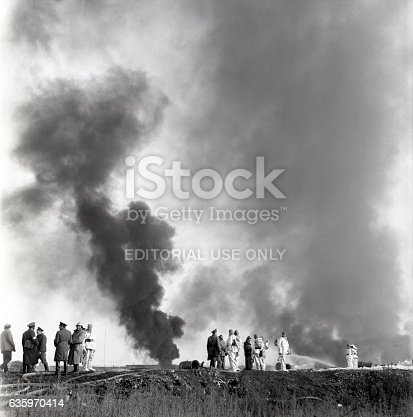 Ufa, Russia - July 12, 1969: Firemen at the fire-fighting operations training uptown Ufa.