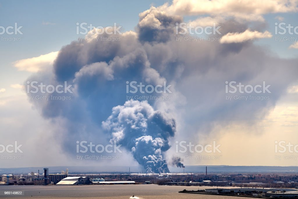 Smoke coming out of Husky Energy oil refinery Superior Wisconsin Explosion 2018 royalty-free stock photo