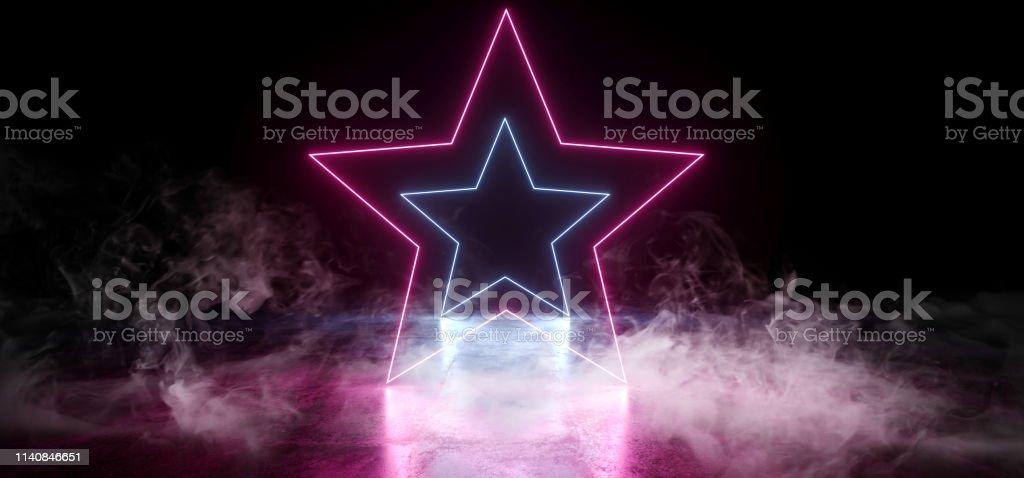 Smoke Dark Empty Black Star Shaped Neon Glowing Laser Fluorescent...