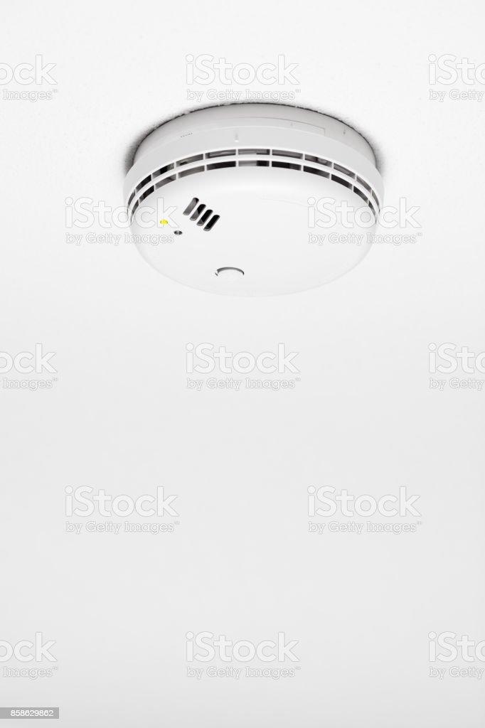 smoke detector of fire alarm, white background stock photo