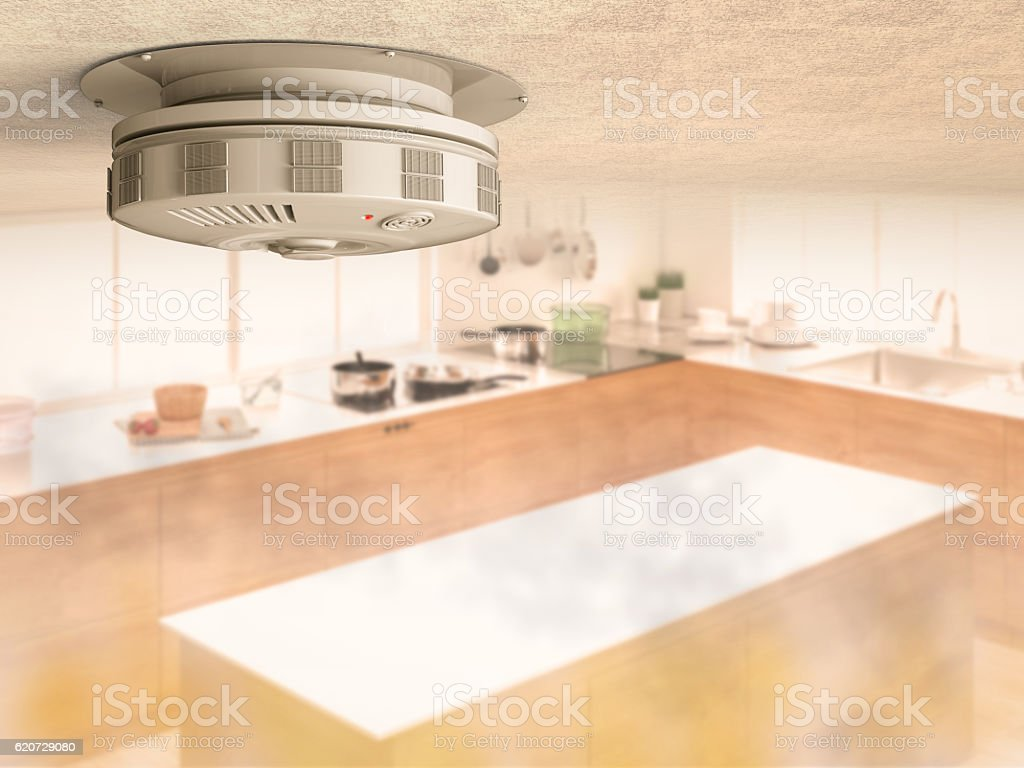 smoke detector on ceiling stock photo