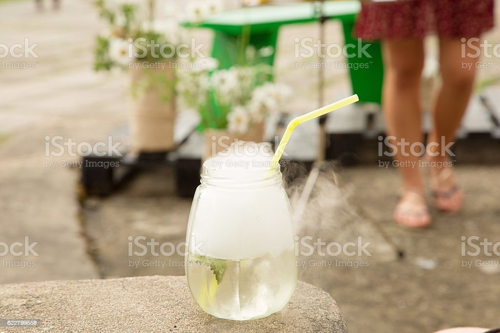 Smoke drink in glass stock photo