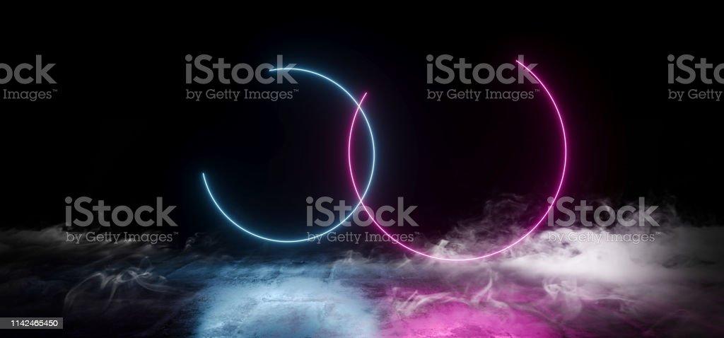 Smoke Elegant Circle Shaped Neon Fluorescent Retro Laser Led Show...