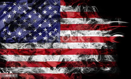 istock smoke flag of United States 1198481517