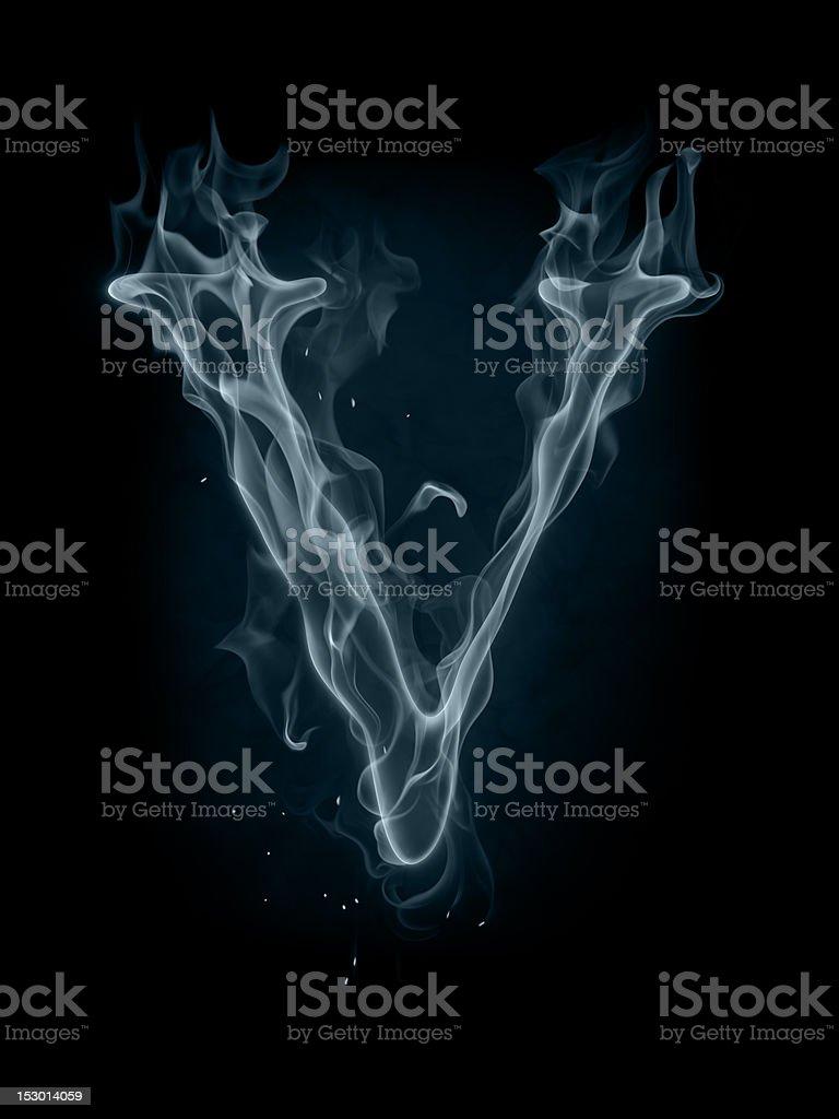 Smoke font. Letter V. stock photo