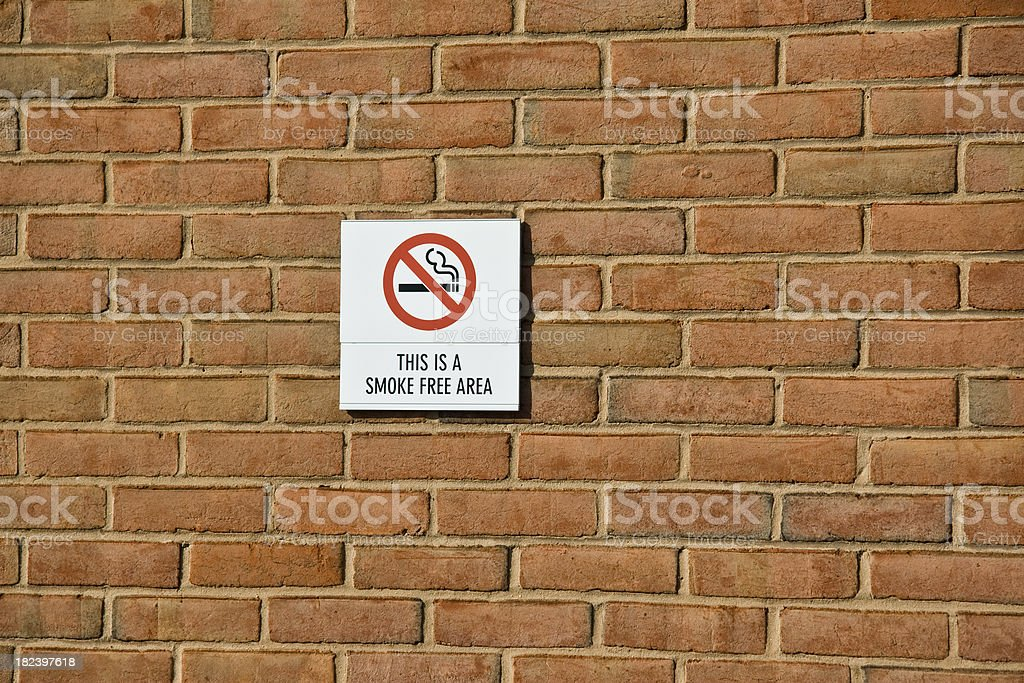 Smoke Free Area Sign stock photo