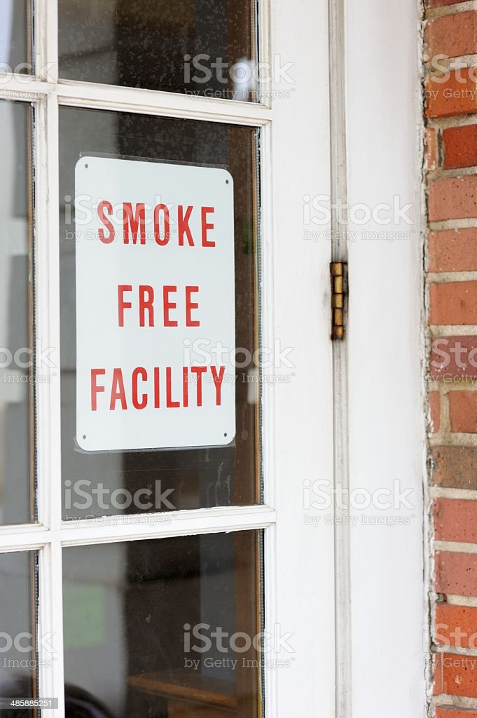 Smoke free facility sign stock photo