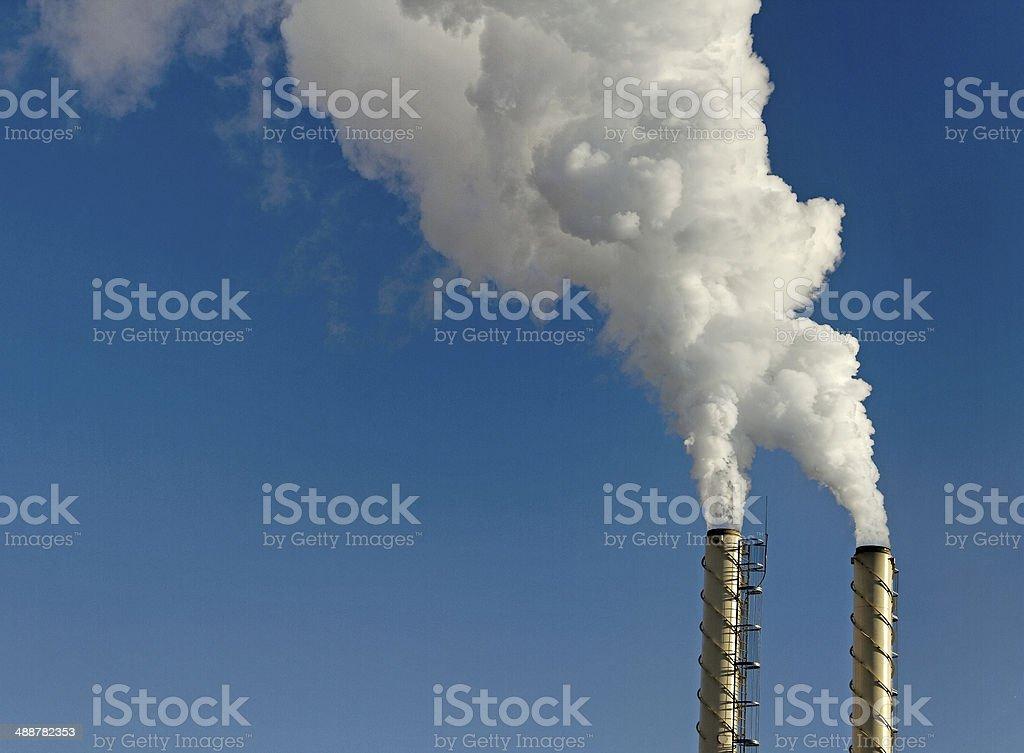 Smoke from chimneys. stock photo