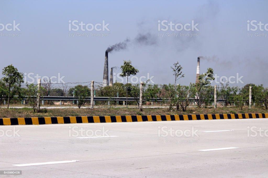 Smoke from chimneys stock photo