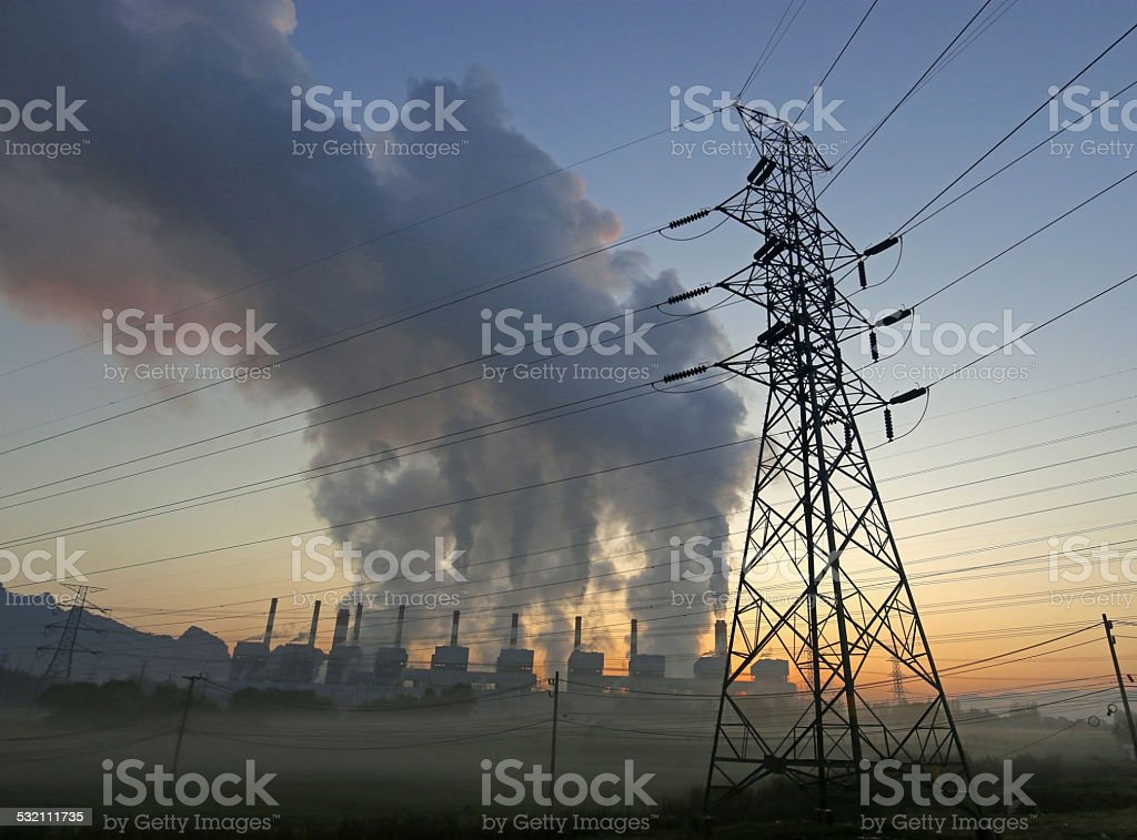 Fumée centrale électrique à charbon - Photo