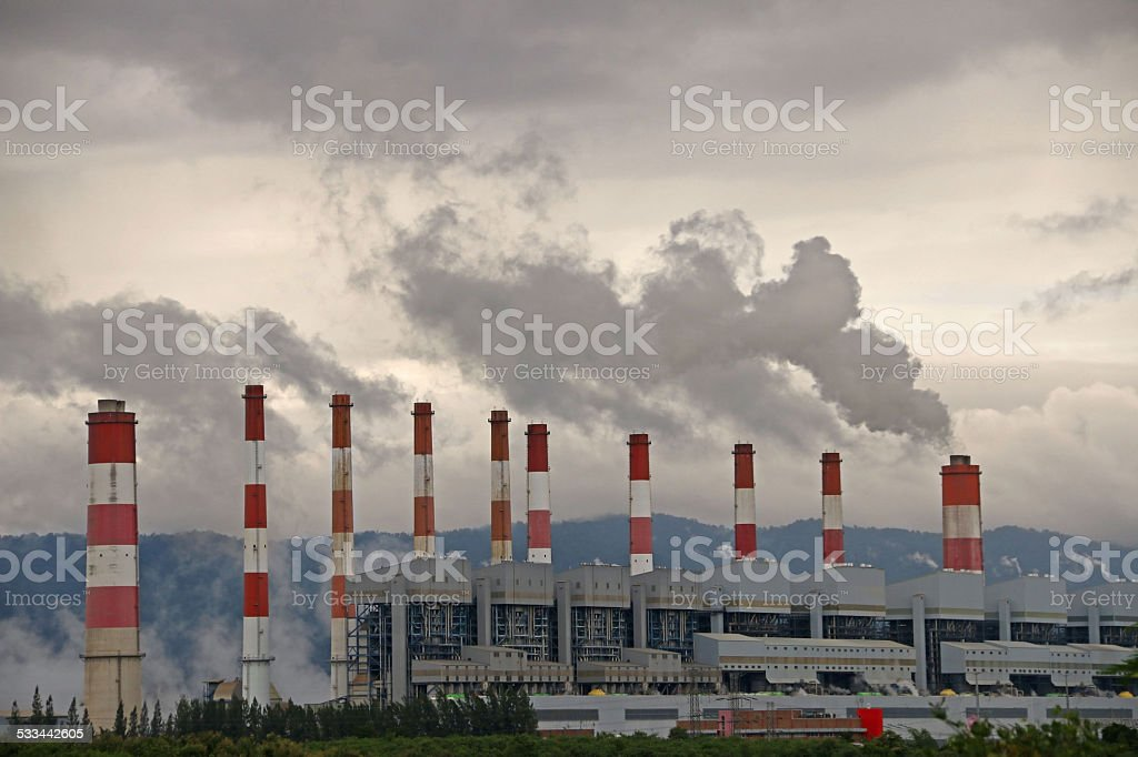 smoke from coal power plant stock photo