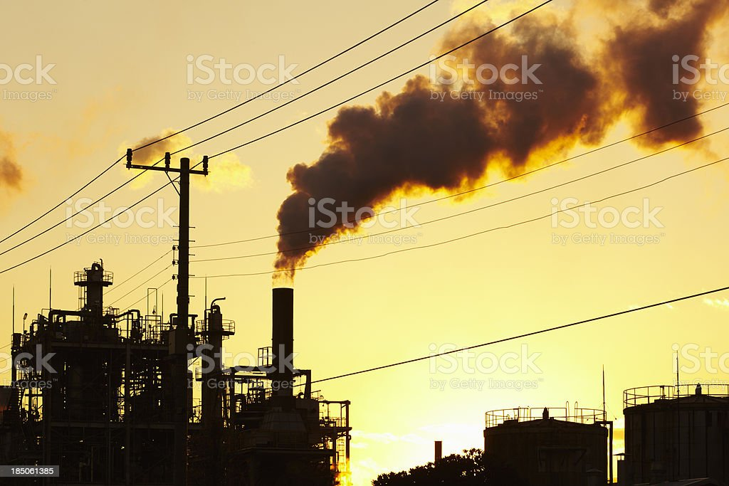 Smoke from industrial chimney royalty-free stock photo