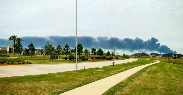 Smoke from ITC Fire over Suburbs - Panorama stock photo