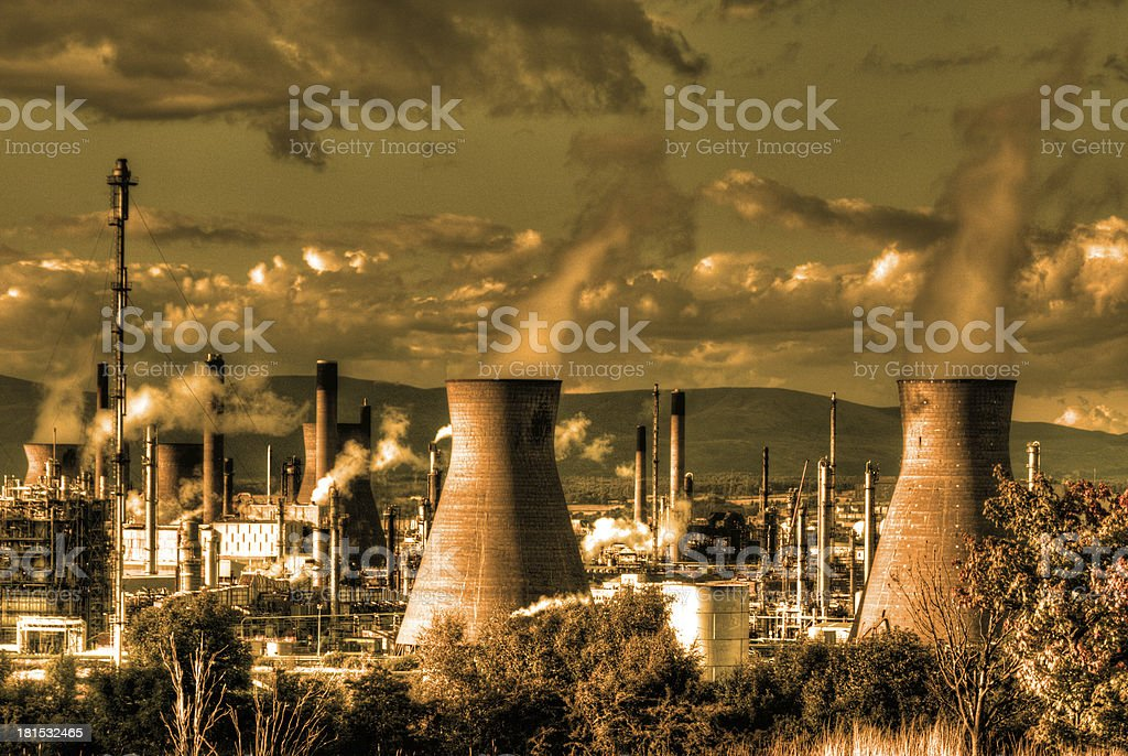 Smoke from oil refinery royalty-free stock photo