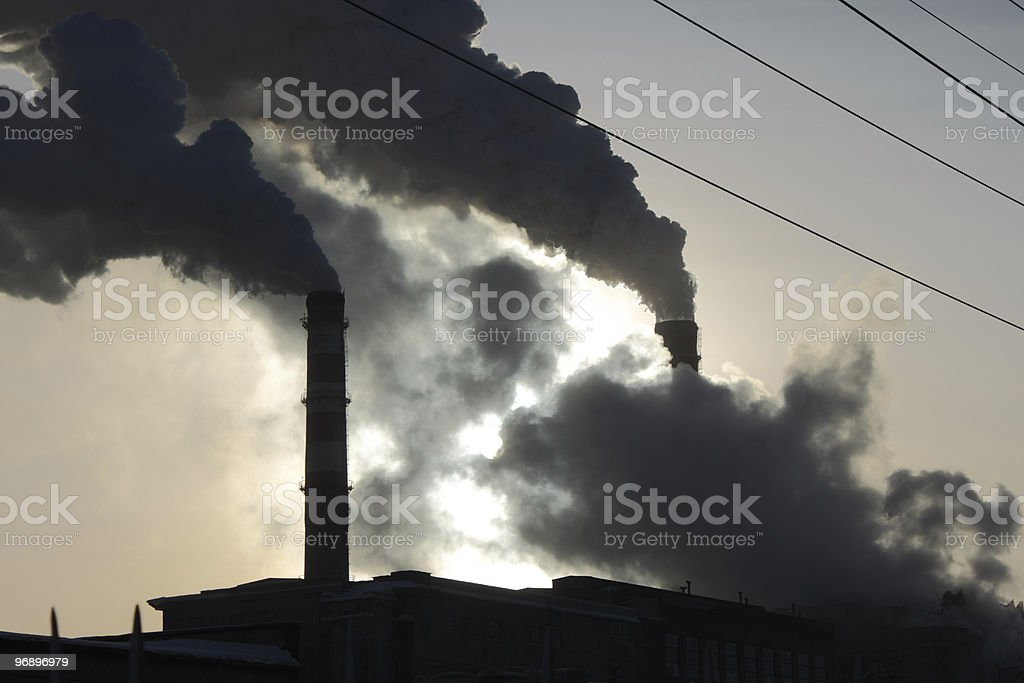 Smoke from pipes of coal power station. royalty-free stock photo