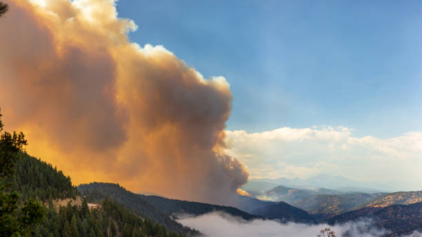 Smoke from the Left Hand Canyon Fire stock photo