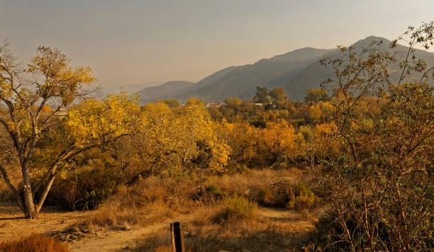 Smoke from the Thomas Fire settles in Santa Ynez, CA stock photo