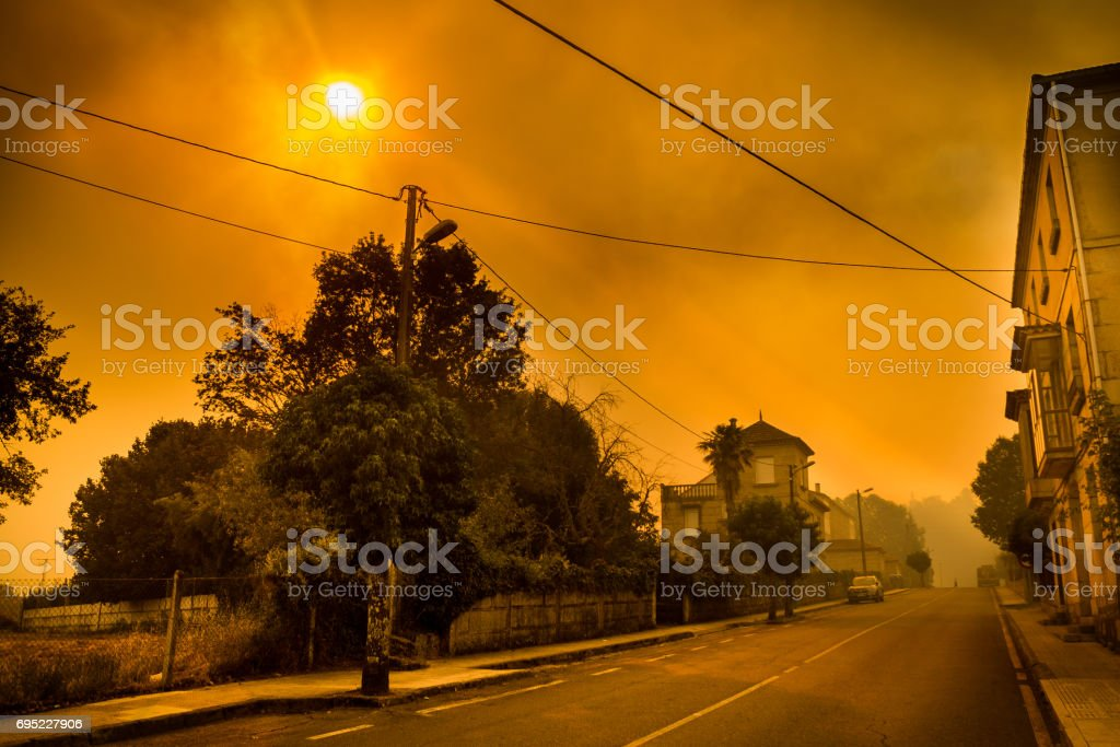 Smoke from wildfires stock photo