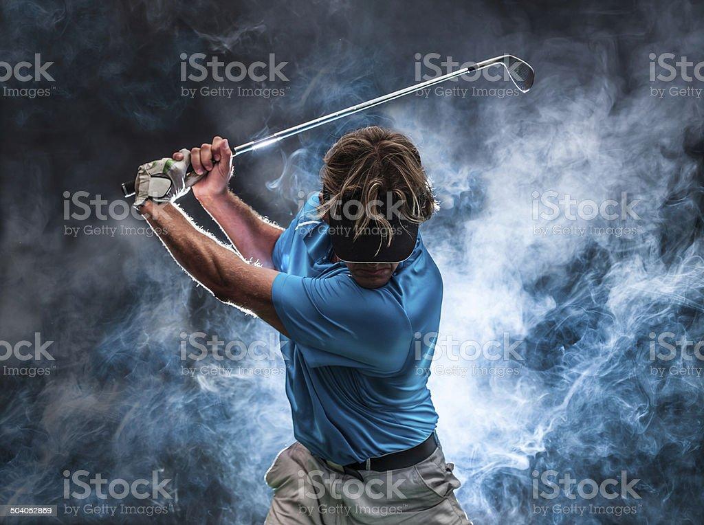 Smoke Golfer stock photo