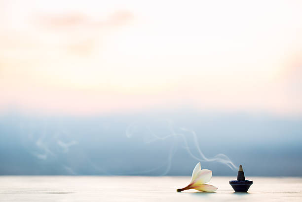 smoke incense cones with plumeria flower on sunset - aromatherapy stock photos and pictures