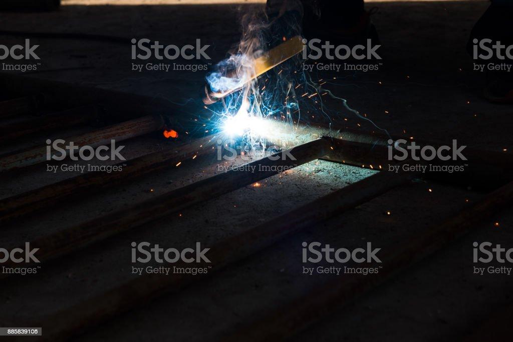 Smoke of electric welding.