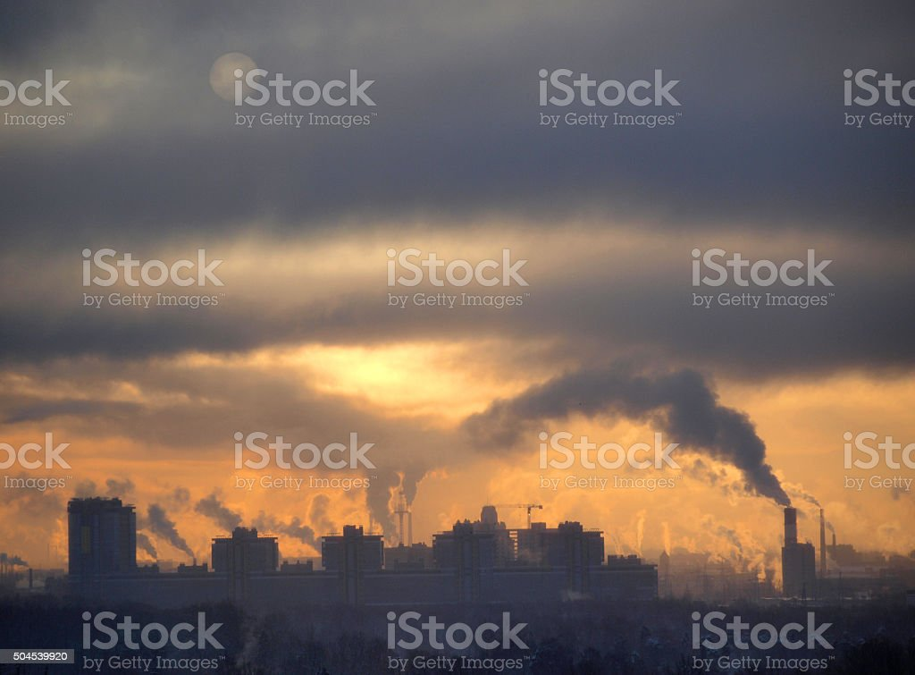 Smoke on city stock photo
