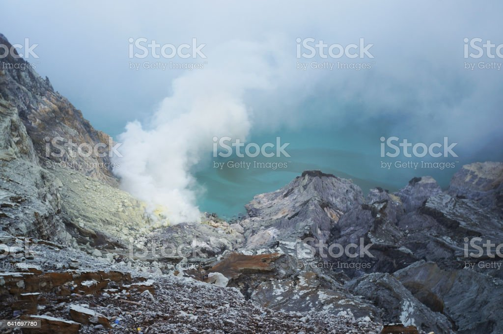 Smoke on Java volcano stock photo